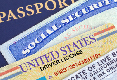 Social Security card, driver's license, and passport