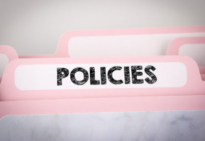 file folder label with the word Policies